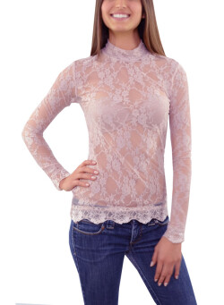 Long Sleeves, Closed Neck, All Lace Top with Scalloped Bottom Band 40198 - CARNATION