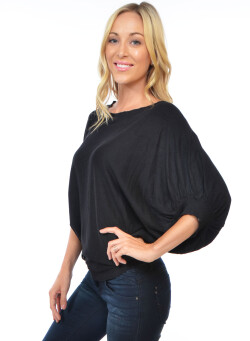 Cuffed-dolman sleeves,boat neckline fitted bottom hemline knitted solid top. RN#: 12895- BLACK