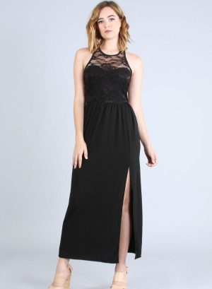 Scoop neckline, sleeveless racer back lace yoke top high-slit maxi dress. WH-22846-BLACK