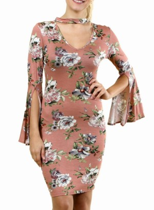 Long Bell Sleeves Floral Dress with Choker FH-BD7228P-Mocha/Brown
