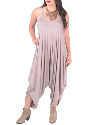 Plus size, spaghetti strap solid jumpsuit with drape bottom hemline.(necklace not included)-WH-BR-7001X-TAUPE