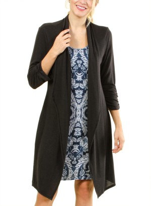 Long sleeve cardigan dress with inner dress pattern FH-SD10889M-BLUE
