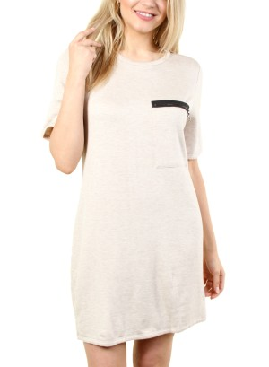 WOMEN'S ZIP-PATCH POCKET, SOLID SHIFT DRESS. FH-MBD7125-BEIGE