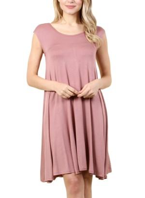 Women's basic sleeveless dress with round collar FH-SJ1204-MAUVE