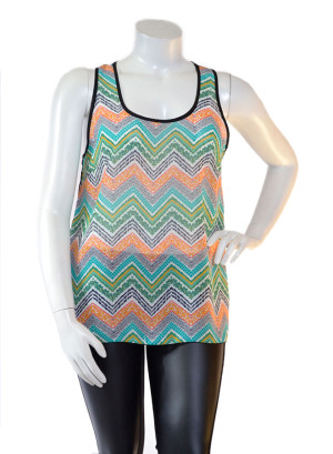 Plus size Sleeveless Deep Scoop Neck Chiffon Top with Piping Detail, Chevron Print Front with See-through Back Contrast-WH-BT1664X-GREEN