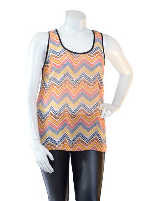 Plus size Sleeveless Deep Scoop Neck Chiffon Top with Piping Detail, Chevron Print Front with See-through Back Contrast-WH-BT1664X-ORANGE