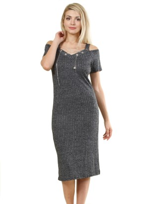 Cut-out cold shoulder midi dress featuring a tie-up front with detachable accessory. WH-J6609-CHARCOAL
