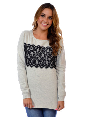 Ribbed neck and cuff, semi hi-low hem with side slits pullover featuring a lace contrast-WN89TB-LIGHT GREY