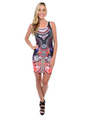 Sleeveless tight fit short length sublimation dress with mesh shoulder, side and back yoke-3156-BLACK SUBLIMATION
