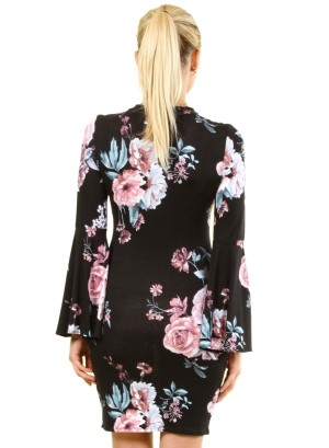 Long Bell Sleeves Floral Dress with Choker FH-BD7228P-Black