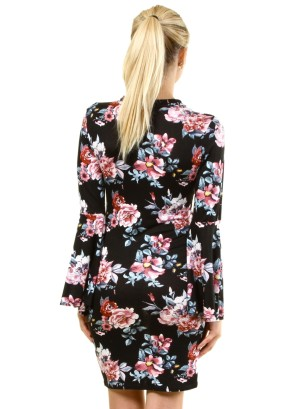 Long Bell Sleeves Floral Dress with Choker FH-BD7228P-Black2