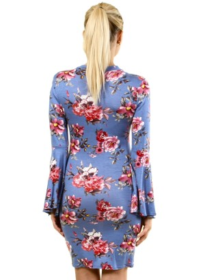 Long Bell Sleeves Floral Dress with Choker FH-BD7228P-Blue