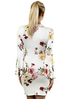 Long Bell Sleeves Floral Dress with Choker FH-BD7228P-Ivory/Coral