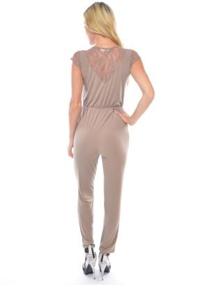 Lace short sleeves, V-neck surplice neckline, tie-garterized waistline solid jumper featuring a V-lace yoke back. WH-BR7007-MOCHA