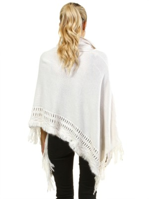 Poncho sweater with ruffled collar FH-B1480-IVORY