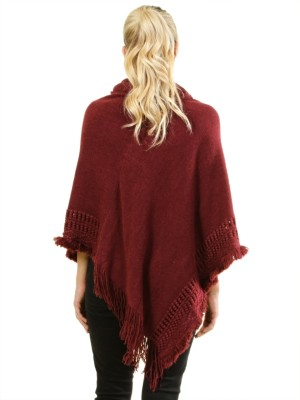Poncho sweater with ruffled collar FH-B1480-WINE