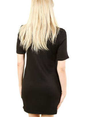 WOMEN'S ZIP-PATCH POCKET, SOLID SHIFT DRESS. FH-MBD7125-BLACK