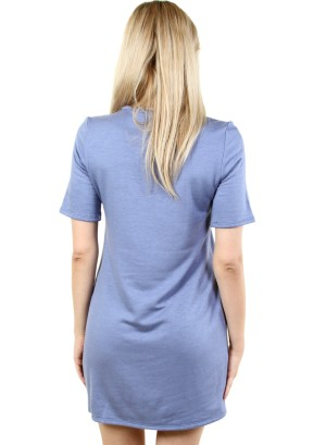 WOMEN'S ZIP-PATCH POCKET, SOLID SHIFT DRESS. FH-MBD7125-INDIGO