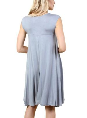 Women's basic sleeveless dress with round collar FH-SJ1204-GREY