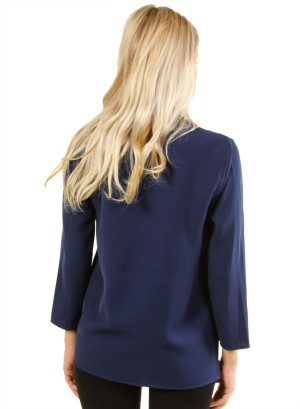 Long sleeve polyester top with open front FH-HT5084-NAVY