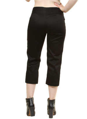 Capri pants with Zip-front/Button Closure WH-19UK899M - BLACK