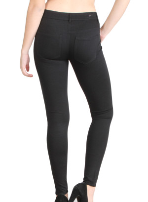 Banded waistline, stretch skinny jeans with shiny front panel, faux front pockets, zip button front closure,belt hoops, back pockets. WH-JCB012101-BLACK