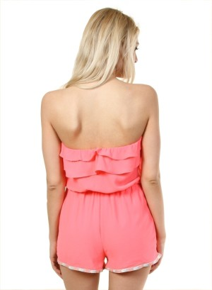 Ruffle tube romper with hem piping and lined bottom - WH-JR6127-NEONPINK