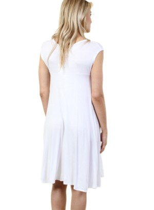 Women's half sleeve dress with scoop neck collar. FH-SJ1204-IVORY