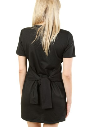 Women's short sleeve tie-waist, zip-front dress. FH-MBD7111-BLACK