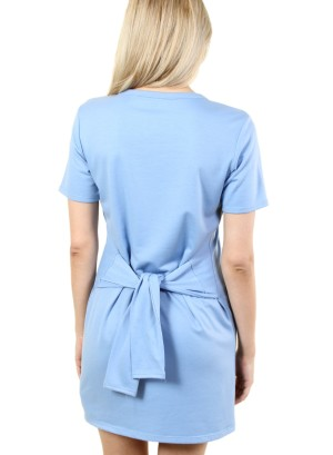 Women's short sleeve tie-waist, zip-front dress. FH-MBD7111-BLUE