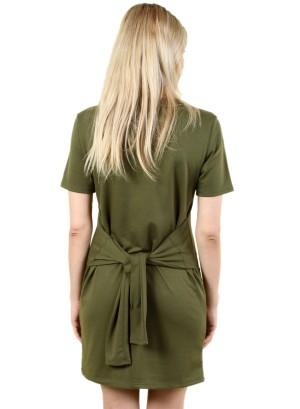 Women's short sleeve tie-waist, zip-front dress. FH-MBD7111-OLIVE
