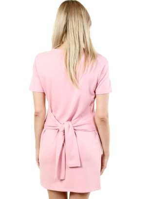 Women's short sleeve tie-waist, zip-front dress. FH-MBD7111-PINK