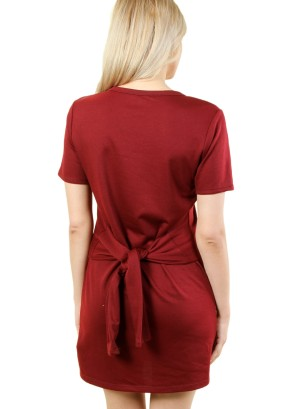 Women's short sleeve tie-waist, zip-front dress. FH-MBD7111-MAROON