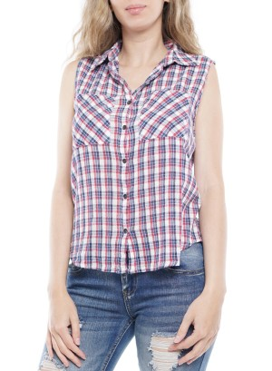 Sleeveless Button-Down Pocket-Front Plaid Top  00096225-Red-Blue