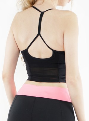 String Mesh Back performance sports bra. 00220592-BLACK