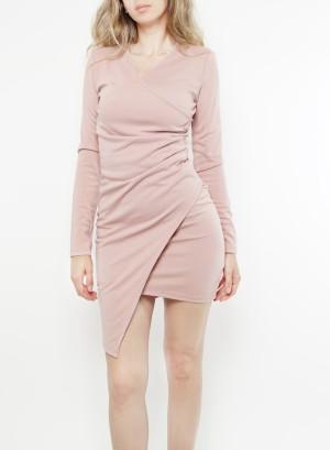 Long sleeve Asymmetric Bodycon Dress. U203D-Pink