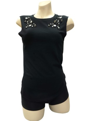 Sleeveless top with Jewel detail front.1120-JEWEL-BLACK