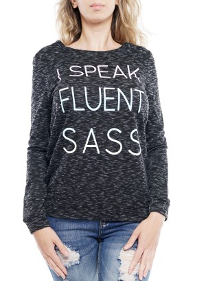 "Long sleeve round neck ""I speak fluent' sweater 11262-Dark Grey"
