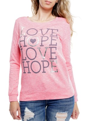 "Long sleeve round neck ""Love Hope' sweater 11262-Pink"