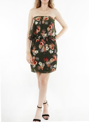 Tube Ruffled floral printed dress. 11550-Olive Floral
