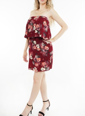 Tube Ruffled floral printed dress. 11550-Wine Floral