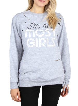 "Drawstring sides,""I'm not Most Girls"" distressed Sweatshirt. 117508-GREY"