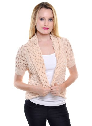 Open crochet short-sleeved open front cardigan with folded collar and ribbed sleeves-WH-20123-CREAM