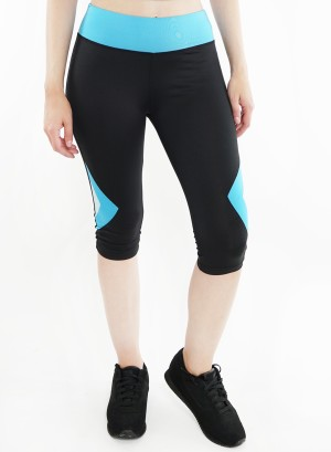 Stretched active Capri-leggings. 2015018-Black/Aqua