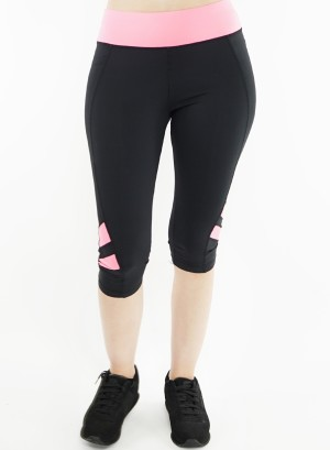 Stretched active Capri-leggings.2015068-Black/Pink