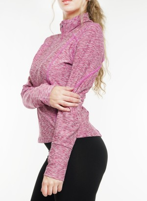 Long sleeves  zip-front marled active top. 2015183-Cherry