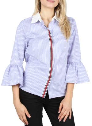 Bell-sleeves, Collar-contrast  button-down with multicolor piping stripe top. 21PW00020T-BLUEWHITE