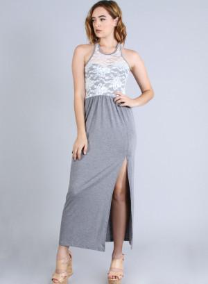 Scoop neckline, sleeveless racer back lace yoke top high-slit maxi dress. 22846 GREY