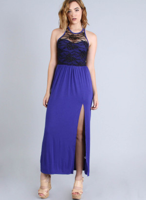 Scoop neckline, sleeveless racer back lace yoke top high-slit maxi dress. 22846 ROYAL BLUE