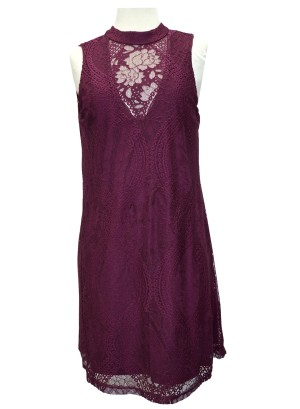 Mocked-neck mesh-ruffled bottom lace sleeveless dress. 25M7133RII0 -WINE